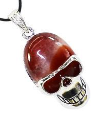 Carnelian Skull Head Pendant Necklace Natural Crystal Healing Stone