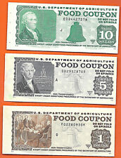 FOOD STAMP COUPON USDA Currency Paper Money Script Welfare 3 Piece Lot  UNC