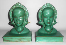 Roseville Art Pottery Pair Burmese Matte Green Bookends