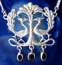 Peacock Bird Necklace Sterling Silver 925 with Onyx Black
