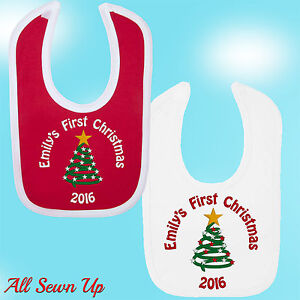 Personalised First Christmas Bib with any name.  Embroidered gift and keepsake