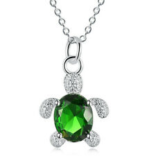 925 silver Top Grade Personality Gemstone Chain Turtle Pendant Necklace gift