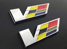 2XNEW Cadillac CTS SRX STS ATS XLR SLS Trunk Fender V SERIES Emblem Badges Decal
