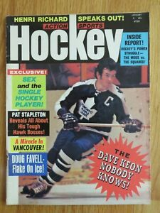 Hockey Action Sport DAVE KEON January 1972 Magazine MAPLE LEAFS