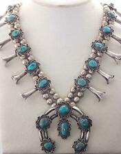 Gorgeous Vintage NAVAJO Sterling Silver Bisbee TURQUOISE SquashBlossom NECKLACE