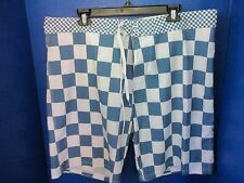 MICROS~Blue & White Checked BOARD SHORTS~4 Way Stretch Men's Size 38~NWT