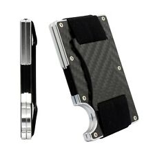 New Design Mini Carbon Fiber Credit Card Holder RFID Blocking Metal Wallet Clip