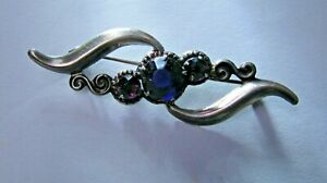 USSR Jewelry  Stirling Silver 875 Pin Brooch Antique Blue Natural Stone Vintage