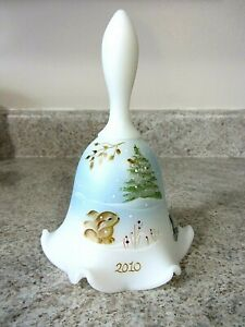 "Christmas Fenton Glass Hand Painted ""Bunny Wonderland"" Bell, new"