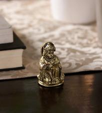 Hindu God Hanuman Ji Kneeling Brass Statue Idol Figurine Sculpture Temple Murti