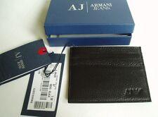 GIORGIO ARMANI JEANS BLACK CALFSKIN LEATHER CARD HOLDER SIX SLOTS £75 06V2RQ712