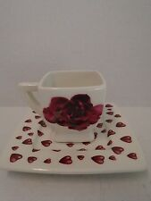Italian Ceramics Rose Cup Saucer Valentine's Day Roses Square Demitasse Flowers