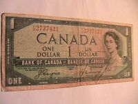 "1954 Canada $1 Dollar ""Devils Face"" Fine Original Paper Money Note Currency P66b"