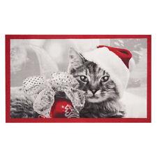 Tapis de pied paillasson weihnachtskatze rouge gris 45x75 cm