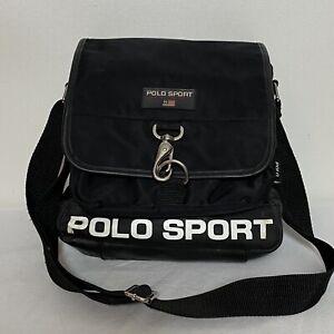 """RALPH LAUREN POLO SPORT Messenger Shoulder Hook And Zipper Black Bag 12""""x12"""""""