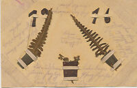 WWI 1916 superb used German HANDMADE CHRISTMAS/NEW YEAR Postcard extremely rare!