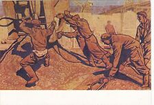 VERY RARE PROPAGANDA workers on a building site #2 old Russian Soviet postcard