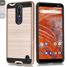 For Nokia 3.1 Plus Shockproof Brushed Armor Rubber Hard Phone Case Cover