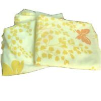 Vtg Springmaid Yellow Floral Butterfly Twin Flat Fitted Sheet Set 60s 70s Cotton