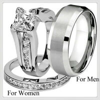 His and Hers Alloy Stainless Steel & Titanium Wedding Band Ring Jewelry Set