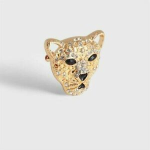 AVON Leopard Brooch. Gold Plated With Sparkling Crystal Glass Stones. BRAND NEW