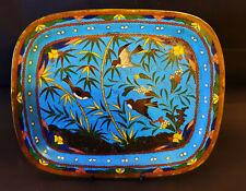 Japon -1875-1899 -Plateau-Bronze émail bleu Cloisonné Hirondelles  24cm X 20 cm