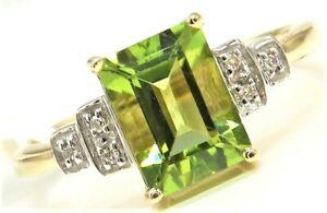 9CT GOLD RING PERIDOT DIAMOND 9 CARAT YELLOW GOLD ART DECO SYLE BAGUETTE N