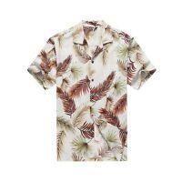 Made in Hawaii Men Aloha Shirt Luau Cruise Party Tropical Leaves Assorted White