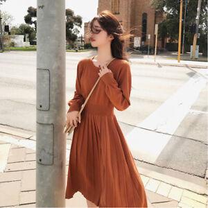 New Women's Sweater Dress Korean Knitted High Waist Pleated Dresses Evening