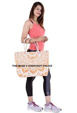 Indian Mandala Tote Bag Ombre Printed Handbag Cotton Women Satchel Purse Lady