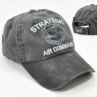 US AIR FORCE STRATEGIC AIR COMMAND SAC GRAY/BLACK CAP HAT LOW PROFILE COTTON