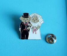 bride and groom bear stud pin badge charity