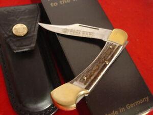 """Puma Germany STAG 3-7/8"""" EARL Lock Blade 1995 Lockback Knife & Sheath MINT"""