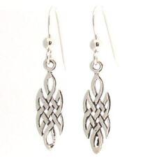Sterling Silver Celtic Irish Knot Work Drop Earrings - Dangle Dangling Style 925