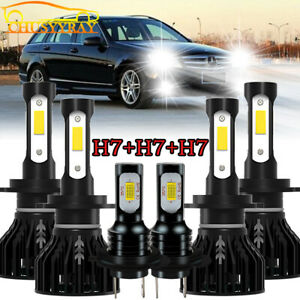 For Mercedes Benz C300 C350 2008 2009 2010 Combo LED Headlight + Fog Light Bulbs