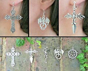 Dragon Skeleton Pentacle Dagger Gothic Cross DnD Fantasy CosPlay Earrings Gift
