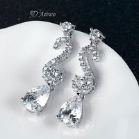 18K WHITE GOLD GF MADE WITH SWAROVSKI CRYSTAL WEDDING PARTY STUD LUXURY EARRINGS