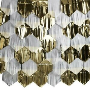 Gold White Garland Christmas Decorations Foil Curtain Backdrop Party Wedding