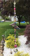 Handmade Purple Stone Agate Quartz Suncatcher/Prism W/Swarovski Elements USA