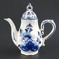 "Delfts Blue Hand Painted Teapot Made in Korea Floral 8"" Tall"
