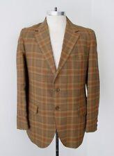 Minty Vtg 60s Rat Pack Penneys Gold Rust Blue Plaid Blazer Jacket Sport Coat 40