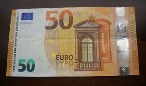 1 x 50 EURO 2017 Circulated Banknotes. 50 Euros Total. Currency