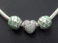 PANDORA Halskette Anhänger SILBER Silver Charms Zirkonia Herz heart Liebe Love