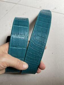 NO JOINTED -Blue   GENUINE ALLIGATOR CROCODILE LEATHER SKIN MEN'S BELT 3.8cm