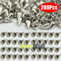 200 x 10mm Silver Spots Cone Screw Metal Studs Leathercraft Rivet Bullet Spikes