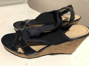 "Adrienne Vittadini ""Coralee"" Black Patent Platform Wedge Sandals. Black,  9.5M"