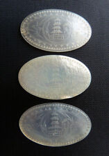 3 OVAL antique Chinese MOP MOTHER of PEARL pagoda GAMING CHIPS tokens NO RESERVE