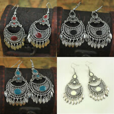 Vintage Bohemian Curved Flower Earrings Retro Ethnic Boho Water Drop Hook Women