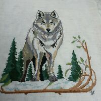 """Completed Cross Stitch Wolf Trees 10"""" x 12"""" No Frame Signed Vintage Finished"""