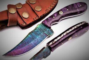 "HAND MADE DAMASCUS STEEL TITANIUM COATED HUNTING KNIFE 8.50""  RESIN HANDLE;*306*"